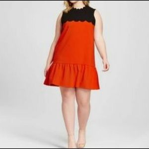 Black & Orange Scalloped Drop Waist Shift Dress